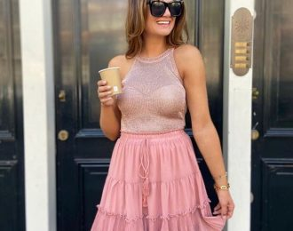 Glitter top roze maat s-m
